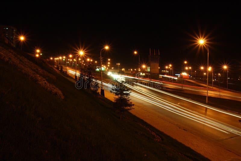 Traffic on night roads royalty free stock photos