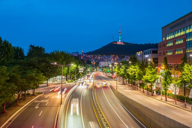 Traffic at Night in Seoul City,South Korea.  stock images