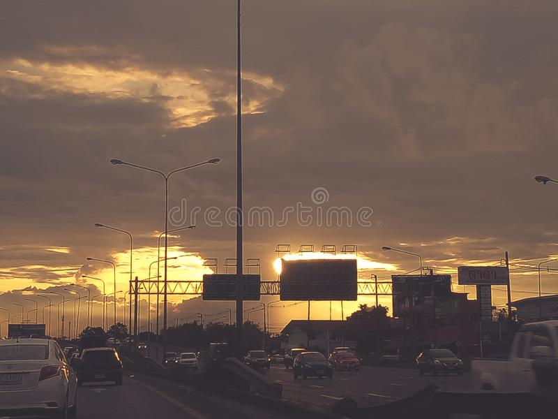 Traffic pack on highway road , transportation road trip concept stock photo