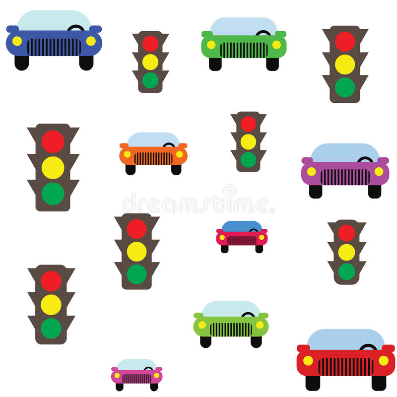 Traffic pattern. Traffic seamless flat vector pattern stock illustration