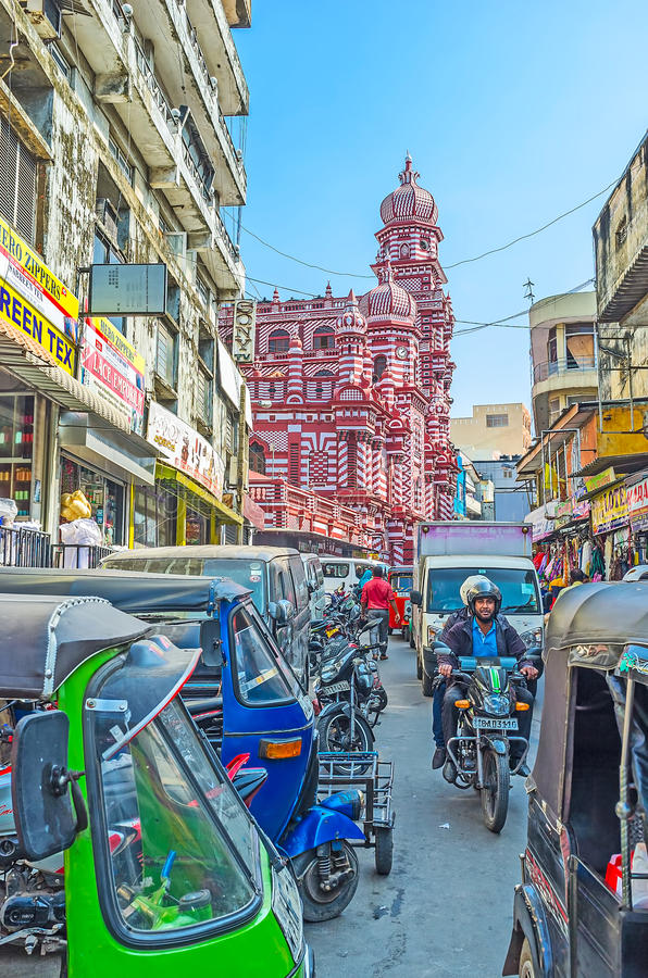 Traffic in Pettah market of Colombo royalty free stock photo
