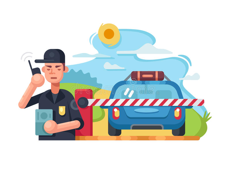 Traffic police checkpoint royalty free illustration