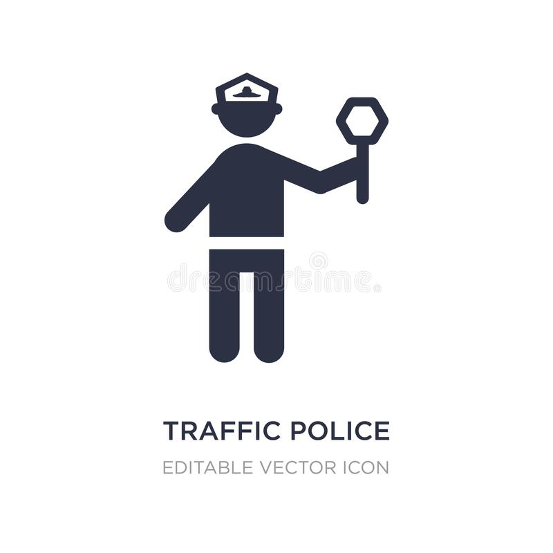 Traffic police icon on white background. Simple element illustration from People concept. Traffic police icon symbol design stock illustration