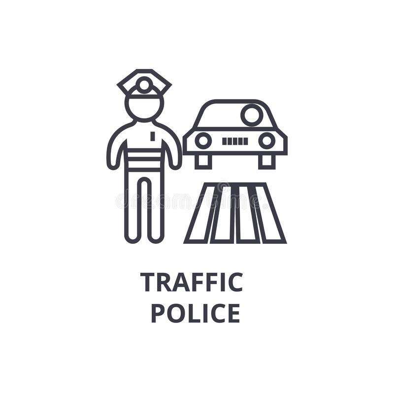 Traffic police thin line icon, sign, symbol, illustation, linear concept, vector stock illustration
