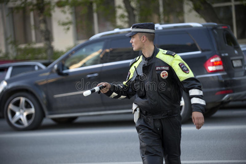 Traffic Police Work. Russia. June 2016 royalty free stock photos