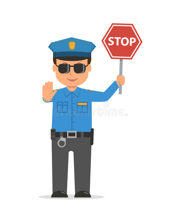 Traffic Policeman Holding A Stop Sign. Stock Vector