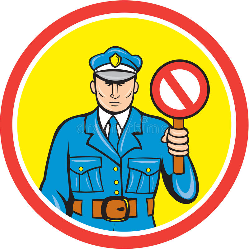Traffic Policeman Stop Hand Signal Cartoon Stock