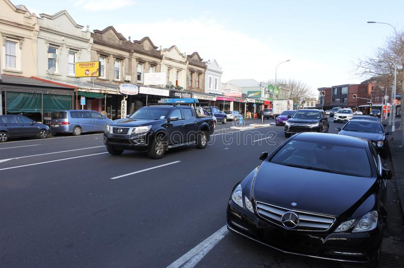 Traffic on Ponsonby road in Auckland New Zealand royalty free stock photo