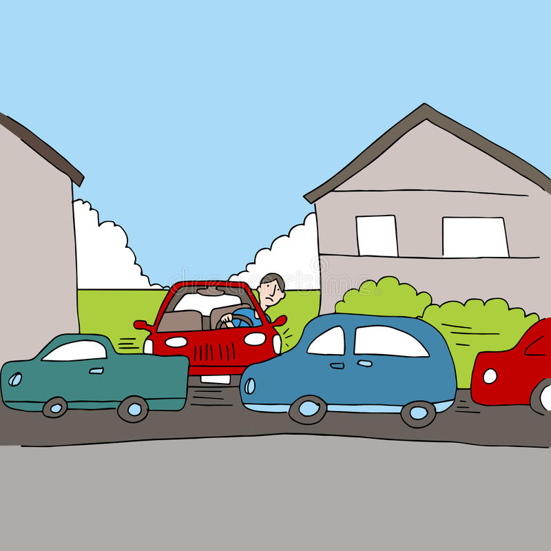 Traffic Problem. An image of a driver stuck in traffic stock illustration