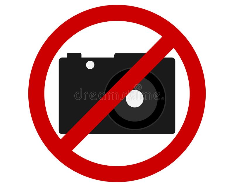 Traffic prohibition sign of taking photographs. Detailed and accurate illustration of traffic prohibition sign of taking photographs vector illustration