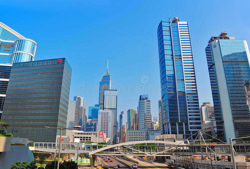 Traffic of queensway in admiralty, hong kong stock image