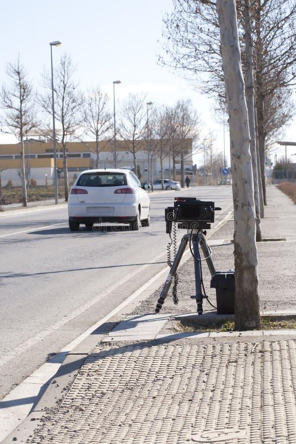 Traffic Radar. Mobile traffic radar located in an urban street royalty free stock photography