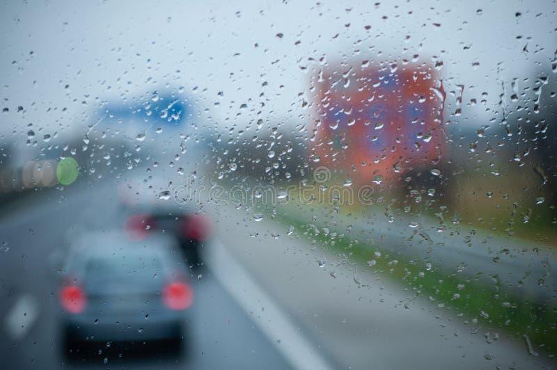 Traffic in the rain royalty free stock photos