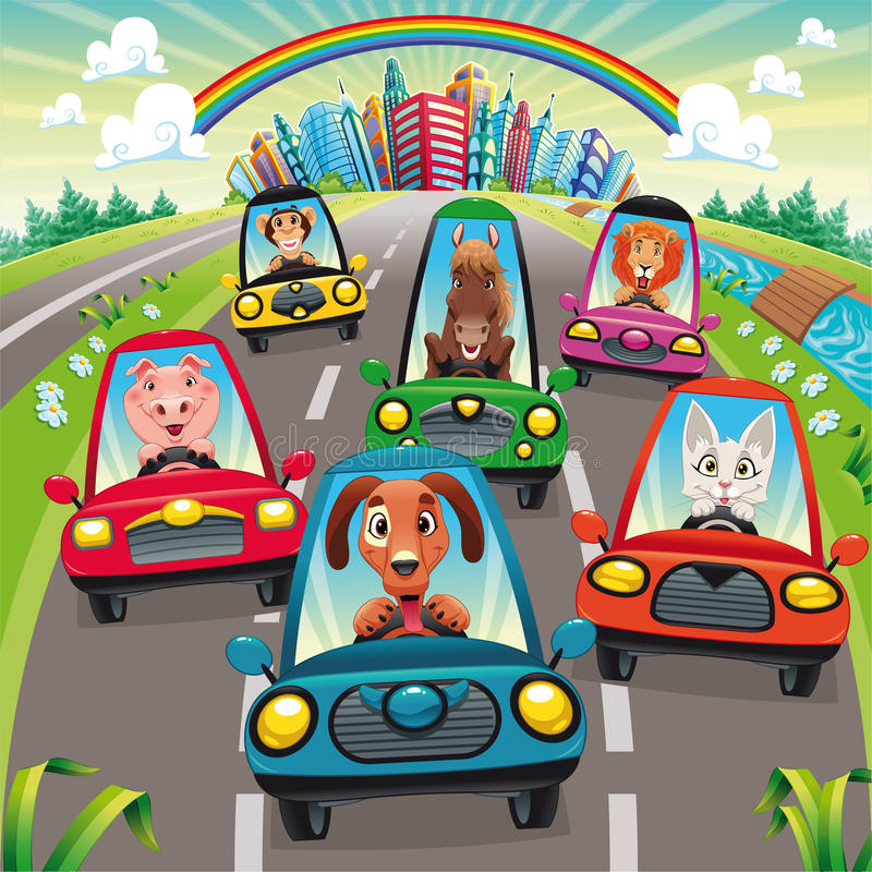 Traffic on the road. Funny cartoon and illustration, isolated objects