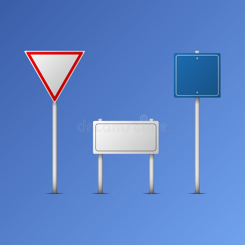 Traffic road realistic signs vector icons set isolated illustration. Collection of signage signal warning sign stop danger caution royalty free illustration