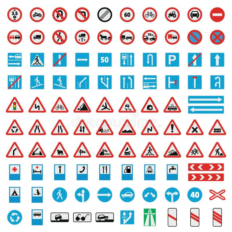 Traffic road sign collection icons set, flat style stock illustration