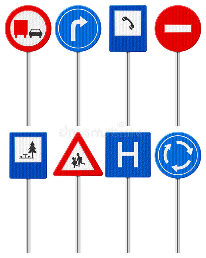 Download Traffic road sign set stock vector. Image of drive, information - 33768772