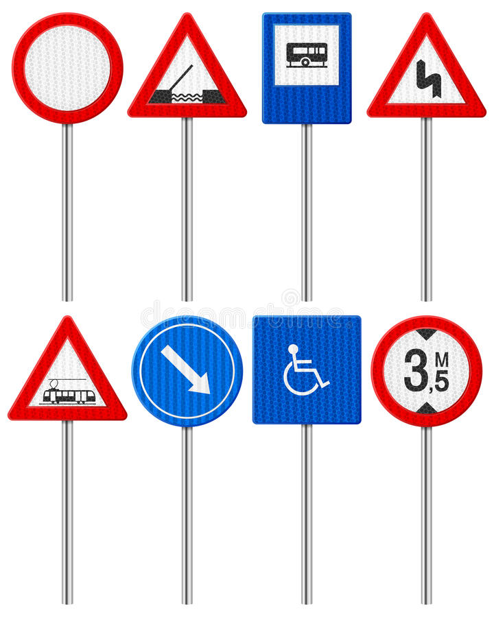Traffic road sign set vector illustration