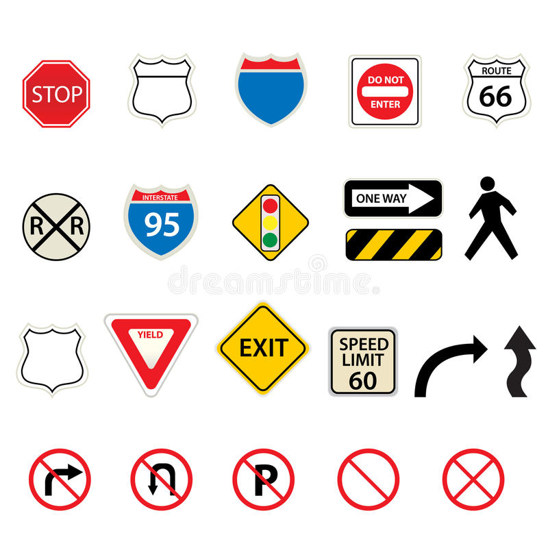 Download Traffic and road signs stock vector. Image of curve, decision - 14427245