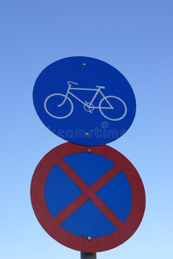 Traffic road signs. No parking, no stopping, no waiting and cycles only signs royalty free stock photo