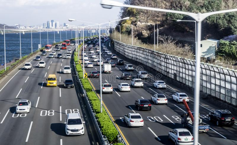 Traffic on the roads beside Hangang river stock photo