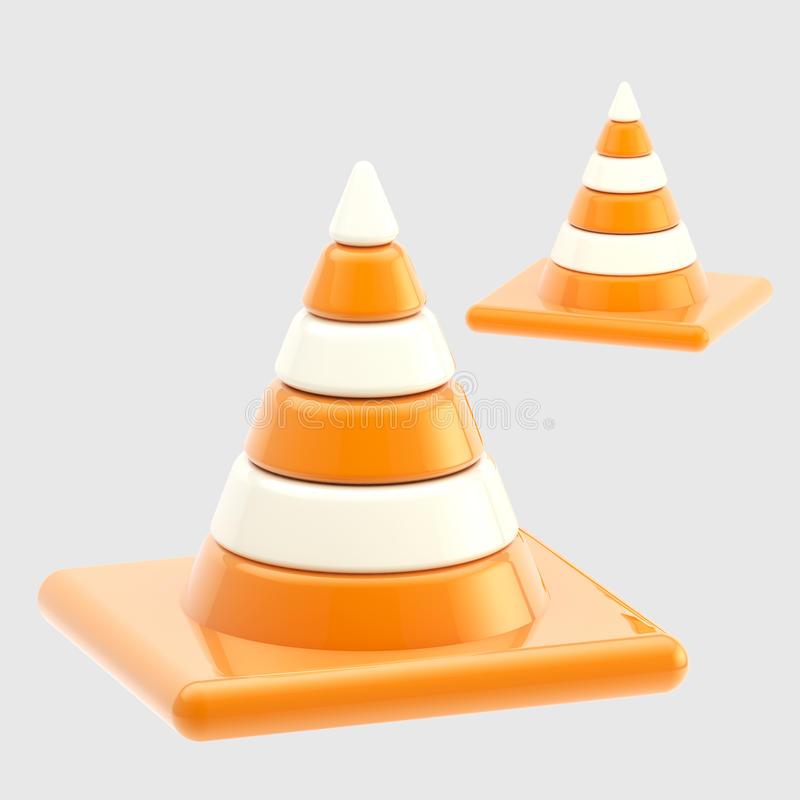 Traffic safety orange road cones isolated vector illustration