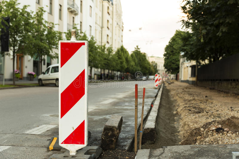 Traffic safety roadwork signs on the city street. Road contruction. Traffic safety roadwork signs on the city street stock images