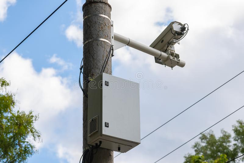 Traffic security camera surveillance on the road in the big city. royalty free stock photography