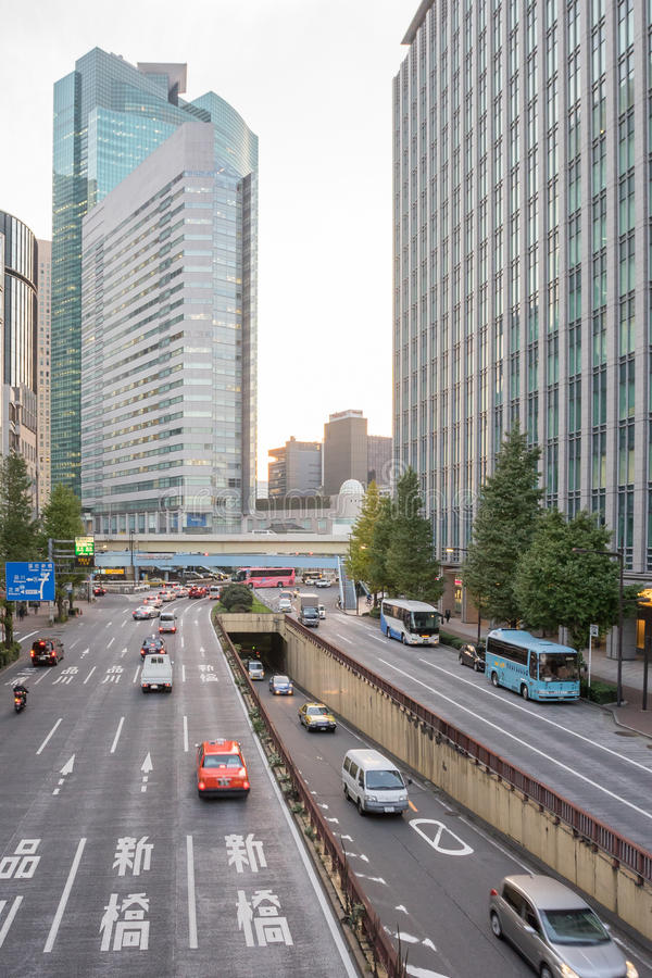 Traffic at Showa Dori road is the main road. Ginza Tokyo Japan - NOV 21, 2016 : Traffic at Showa Dori road is the main road that runs through the middle of Showa royalty free stock photos