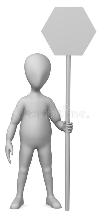 Traffic sign. 3d render of cartoon character with traffic sign stock illustration