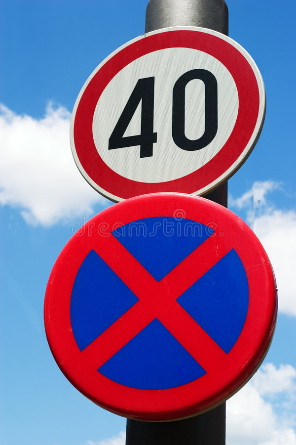 Traffic sign. For speed limit stock image