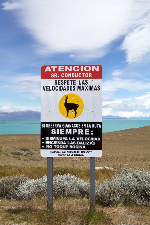 Traffic sign along the shore of Viedma Lake, Patagonia in Argentina. Traffic sign along the shore of Viedma Lake in Patagonia near the the border between stock image