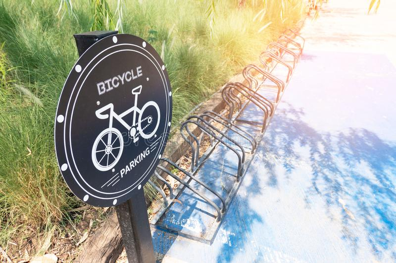 Traffic sign about bicycle parking in park .Bike Parking sign stock photos