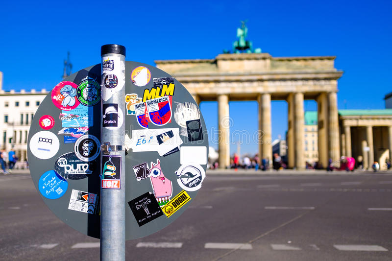 Traffic sign by a Brandenburg Gate stock photo
