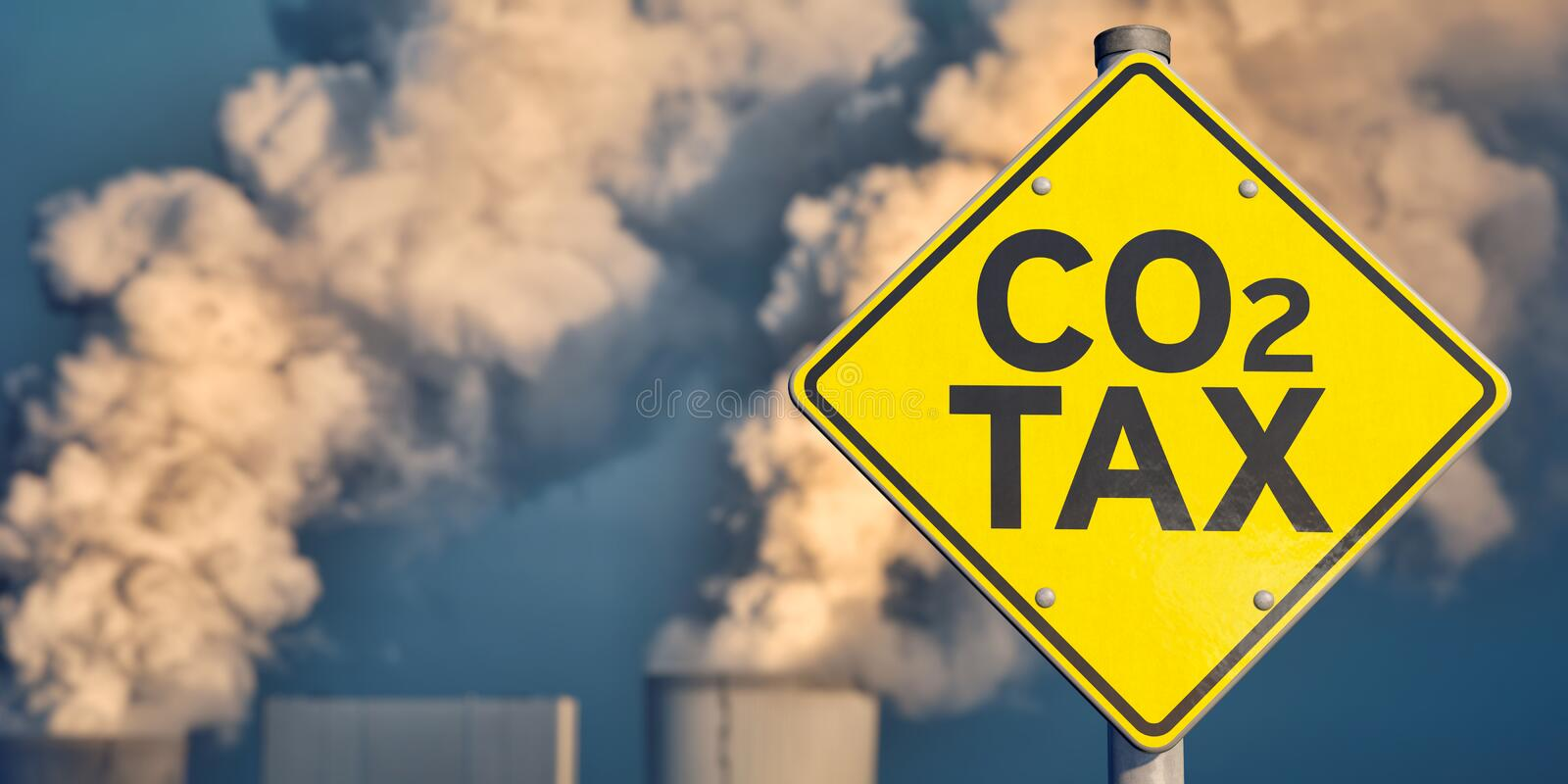 Traffic sign CO2 Tax. With coal-fired power station in background royalty free stock photography