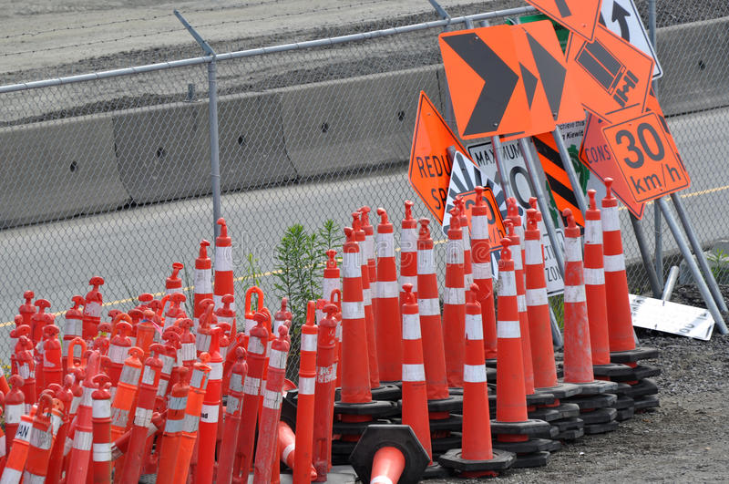 Traffic sign and cone stock photos