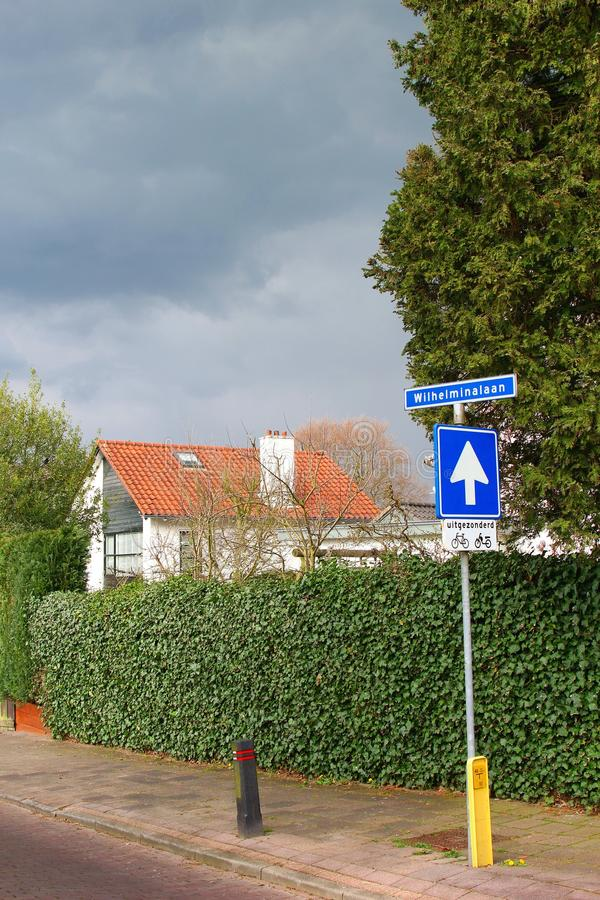 Traffic sign and the dutch word for Wilhelmina Lane, Netherlands stock images