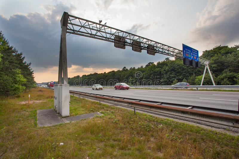Traffic Sign Gantry. Over the A12 in the Netherlands royalty free stock photography