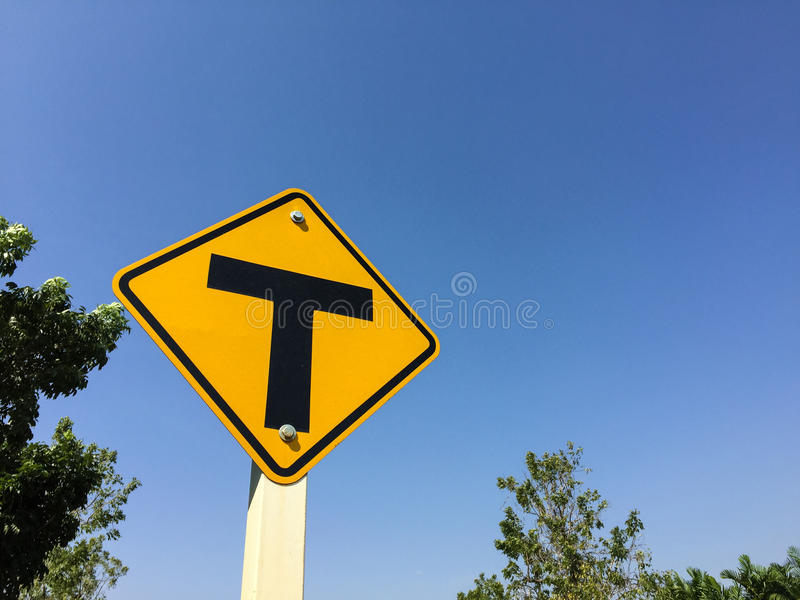 Traffic sign in the garden. Show the overhead junction stock photos