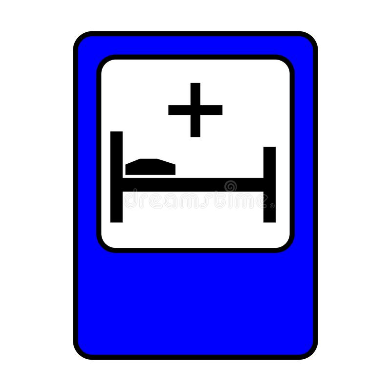 Traffic sign hospital. Bed and cross sign. Eps ten vector illustration