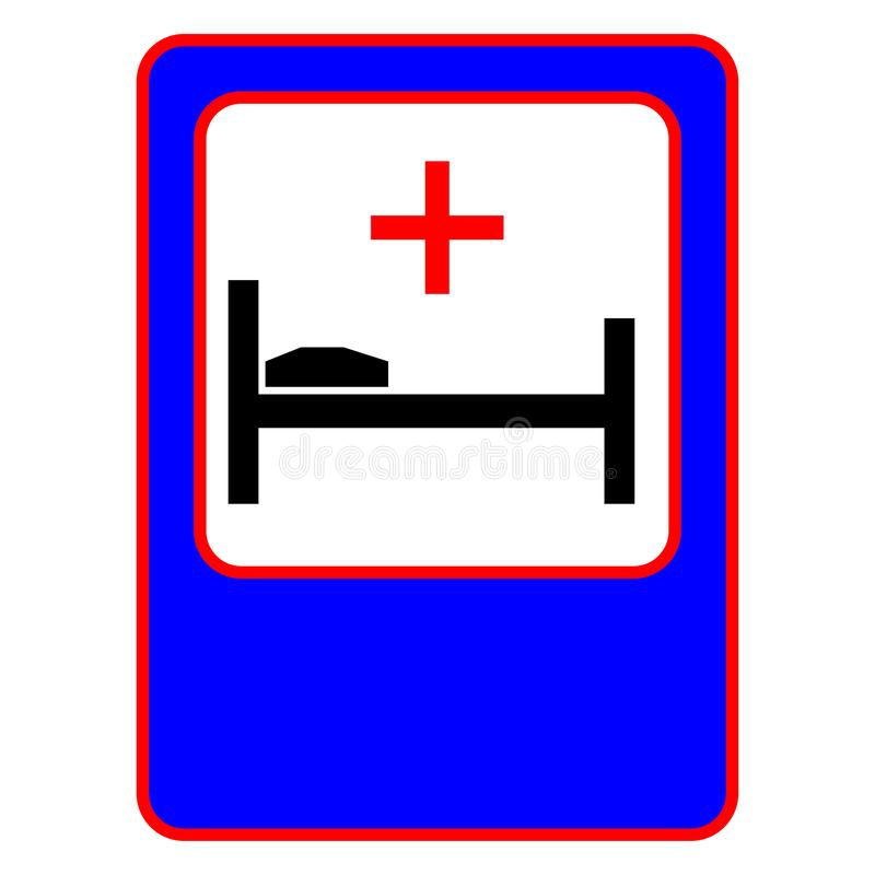 Traffic sign hospital. Bed and Red Medical Cross Sign. Eps ten royalty free illustration