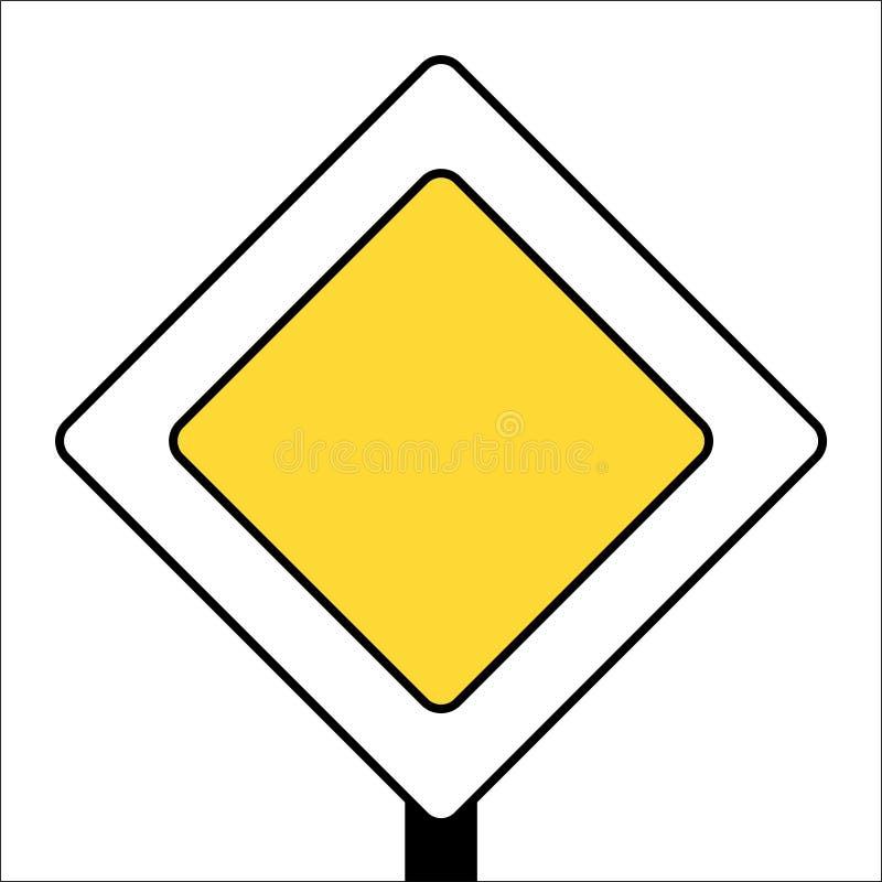 Traffic sign main road white background post. Traffic sign main road white background on post royalty free illustration