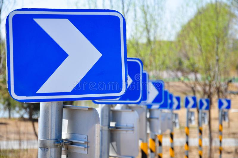 Arrow sign. Traffic sign of Road guide royalty free stock photo