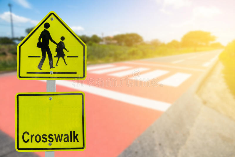 Traffic sign on road in the industrial estate,about travel safely stock photo