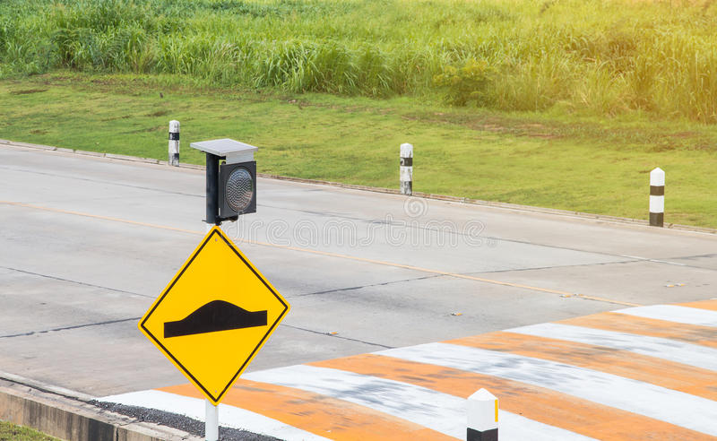 Traffic sign on road in the industrial estate. Waning signs royalty free stock photos