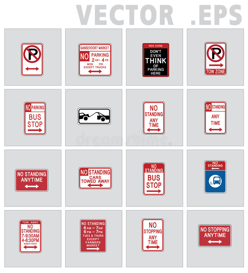 Traffic sign road USA. Vector graphic. Sign road vector, No parking, No standing, Tow zone royalty free illustration