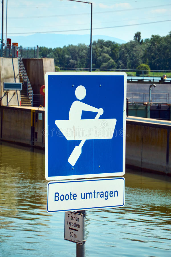 Traffic sign at a ship lock. In Breisach on the Upper Rhine stock images