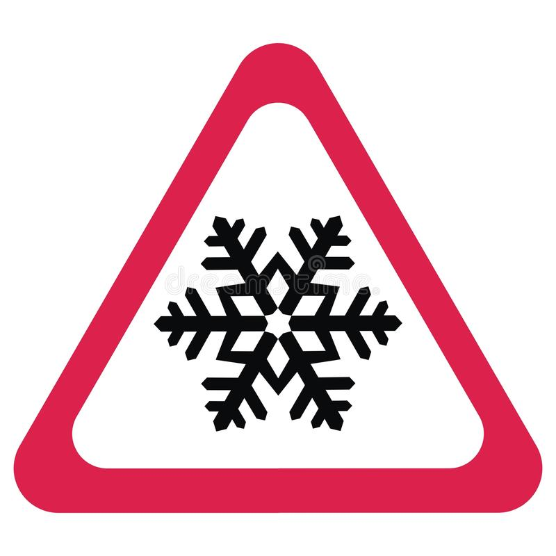 Traffic Sign, Snow Alert, Red Triangle Symbol Stock Vector - Illustration of roadsign, road: 110114611