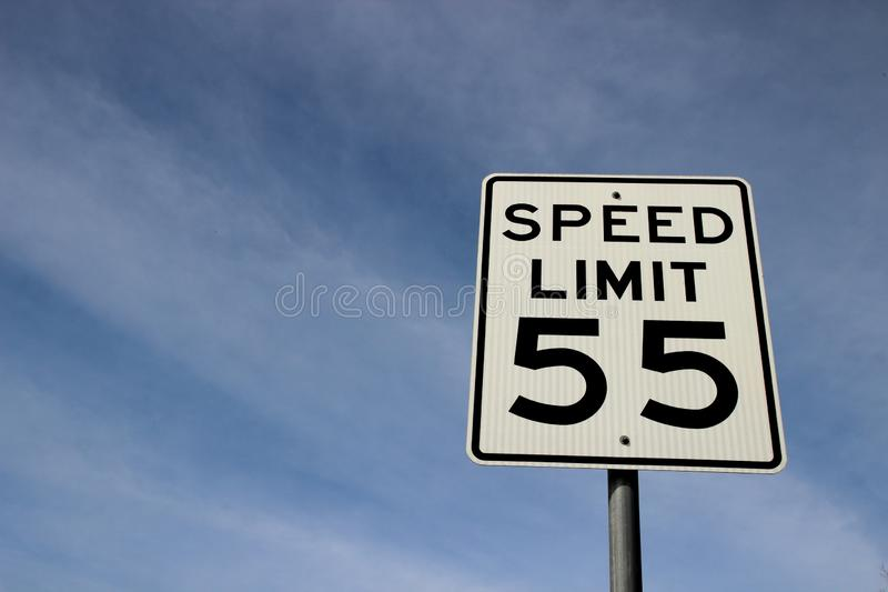 Traffic sign speed limit 55 stock images