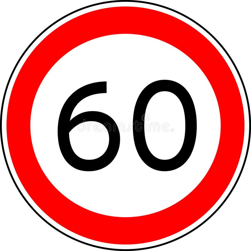 Traffic sign speed limit 60, vector max speed 60 kmh royalty free illustration